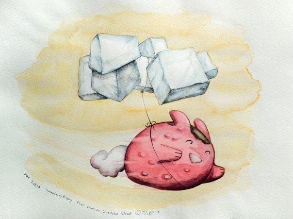 StrawberryBunny Flies From An IceCube Cloud