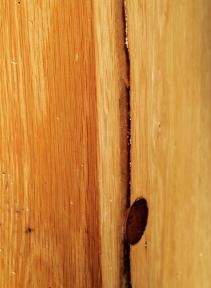 Barn-beam Pedestal (detail of plug and resin)