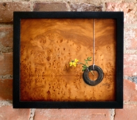 """""""Absolute: Memory"""", Oil on reclaimed birdseye maple. 11 3/8"""" x 10"""". 6.12.14"""