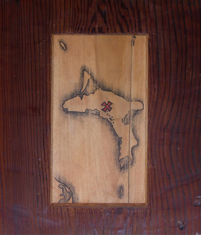 Pirate Peg-Legged Table (detail of map)