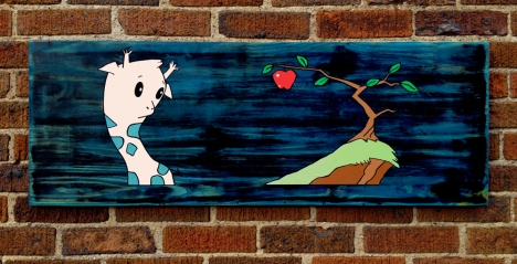 "Tempting: Acrylic and marker on reclaimed wood. 39"" x 14"""