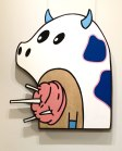 "CottonCandy Cow: Large wall hanging. Acrylic and wire on reclaimed birch ply. 31 1/4"" x 37 1/2"". 4.28.14."