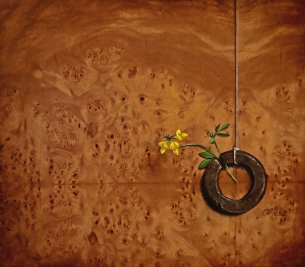 """""""Absolute: Memory"""" : Oil on reclaimed birdseye maple. 6.12.14."""