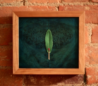 """Absolute: Ignition"" (framed in cherry), Oil on reclaimed birdseye maple. 9 1/8"" x 8"". 7.18.14."