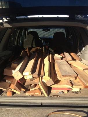 A truck full of reclaimed wood