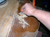 Scraping end table