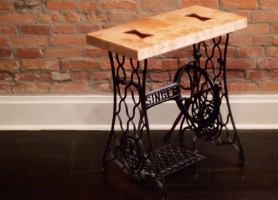 """Butterfly Singer Sewing Table"": Bloodwood inlayed into Birdseye Maple, polyester resin, 1901 Singer sewing machine"