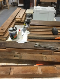 The whole bench in all its pieces.