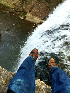 Atop a waterfall, thinking about a painting-to-be