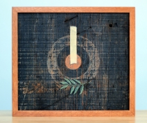 """Absolute: Centered, Oil on reclaimed red oak barn wood. 14 3/4"""" x 13"""". 6.10.15."""