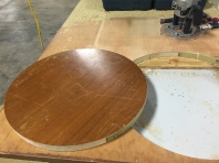 Routing out circles that will later become the jig.