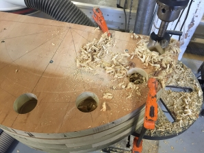 Drilling out clamp holes in the bending jig