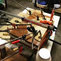 Fully clamped wood in the bending jig.