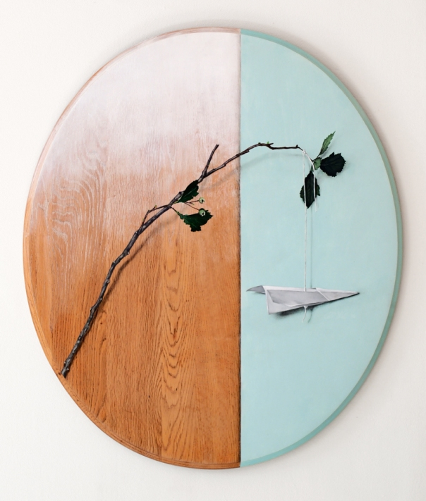 """Absolute: Construct, oil on refinished red oak. 22"""" x 26"""". 9.21.12."""