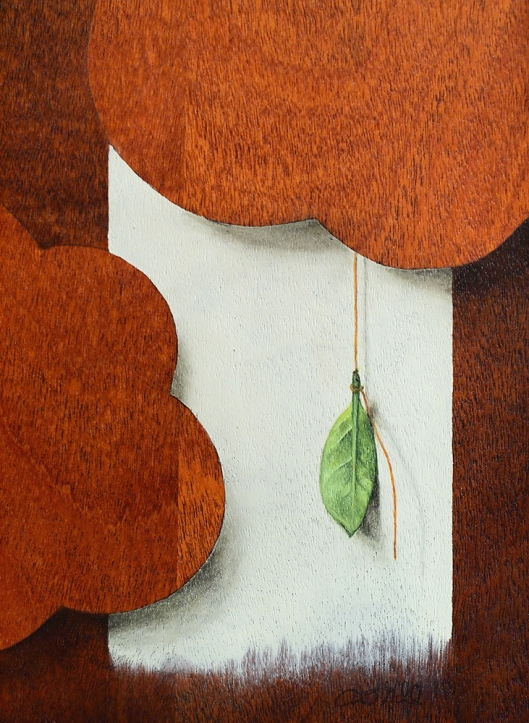 """""""Absolute: Change"""" (detail), Oil paint on mahogany. 13 1/16"""" x 13 1/16"""". 2.22.16"""