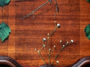 """Absolute: Position"", (detail). Oil paint on reclaimed mahogany pie crust table top. 25 1/2"" x 25 1/2"". 8.9.16."