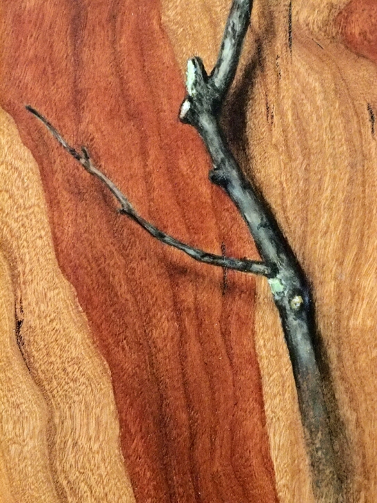 """""""Absolute: Insulation"""" (detail), Oil paint on reclaimed cherry wood. 12 3/4"""" x 15 5/8"""". 12.13.16."""