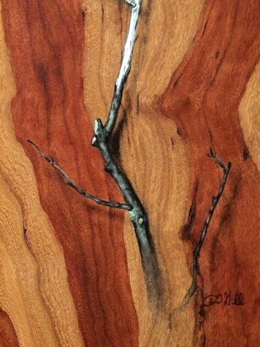 """Absolute: Insulation"" (detail), Oil paint on reclaimed cherry wood. 12 3/4"" x 15 5/8"". 12.13.16."