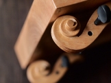 "Refurbished, re-carved violin necks, curly maple. 13"" x 14 1/4"" x 10"""