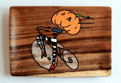 Join The Ride: Acrylic and marker on Acacia sushi plate
