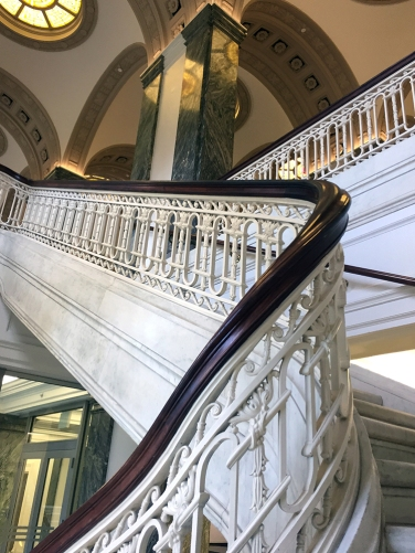 The beautiful staircase of Carnegie Gallery Columbus Metropolitan Library