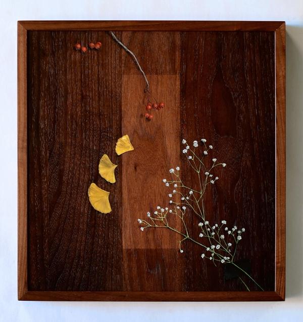 """Absolute: Nostalgia"" (framed), Oil paint on reclaimed black walnut. 18 1/2"" x 17 5/8"". 11.27.17"