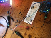 Prototyping the electronics. Arduino + Adafruit motor shield + tiny stepper motor + mic sensor + Neopixel LED strip