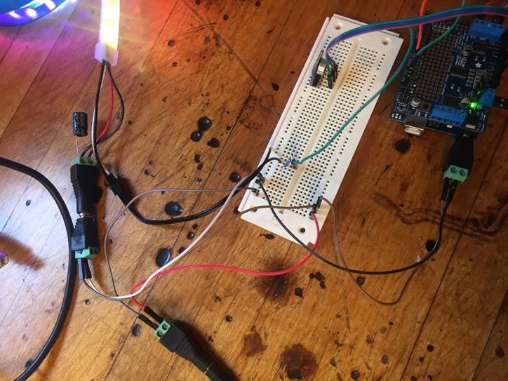 Prototyping the electronics. Arduino + Adafruit motor shield + tiny stepper motor + mic sensor + Neopixel LED strip
