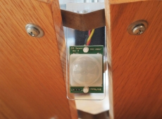 Detail shot of the passive infrared sensor (motion sensor)