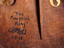 The Pumpkin's King (back), acrylic and marker on vintage violin.
