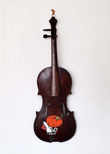"The Pumpkin's King: Acrylic and marker on vintage violin. 23"" x 7 7/8"" x 2 1/2"". 9.7.18"