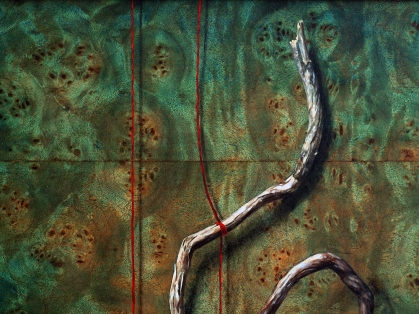 """Absolute: Balance"" (detail) Oil on reclaimed burled maple. 12 1/2"" x 12 1/2"". 10.21.18."