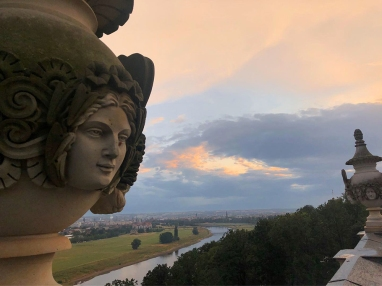 View of Dresden from atop the Lingnerschloss