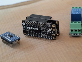 Left: Adafruit TXB0108 logic level Shifter. Middle: Adafruit Huzzah32 Feather ESP32 Wi-Fi board & Adalogger stack. Right: 3.3V relay switch