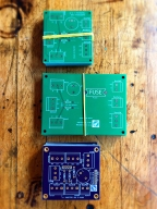 My first real attempts at self-designed printed circuit boards. I learned so much. Unfortunately, due to a change in overall design, I didn't end up using any of these.