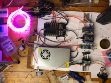 Settled on this arrangement for the lights, control panel, power supply, and fuse box.