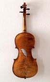 """Absolute: Thread"": Oil paint on reclaimed violin and case. 24"" x 8 1/8"" x 3 3/4""."